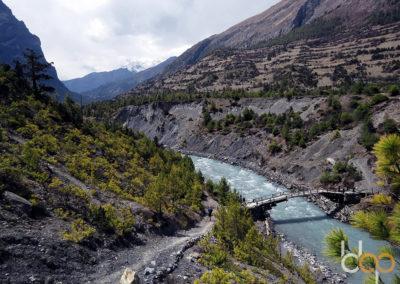 Fluß mit Brücke im Hochland